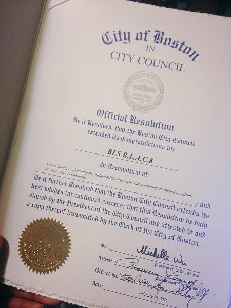 The Official #BlackATBls Resolution provided by City of Boston